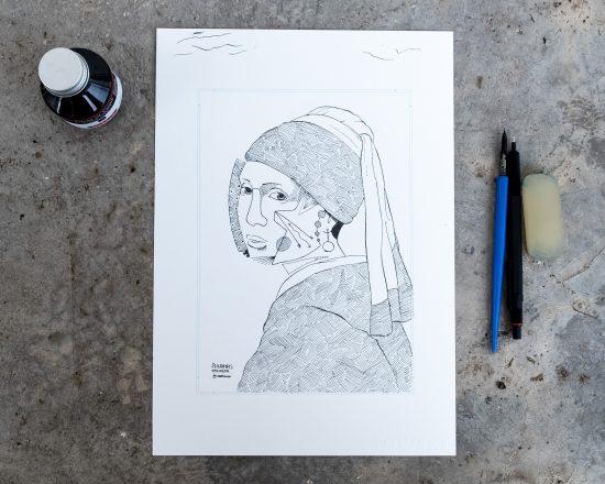 Ilustración La Joven de la Perla de Johannes Vermeer