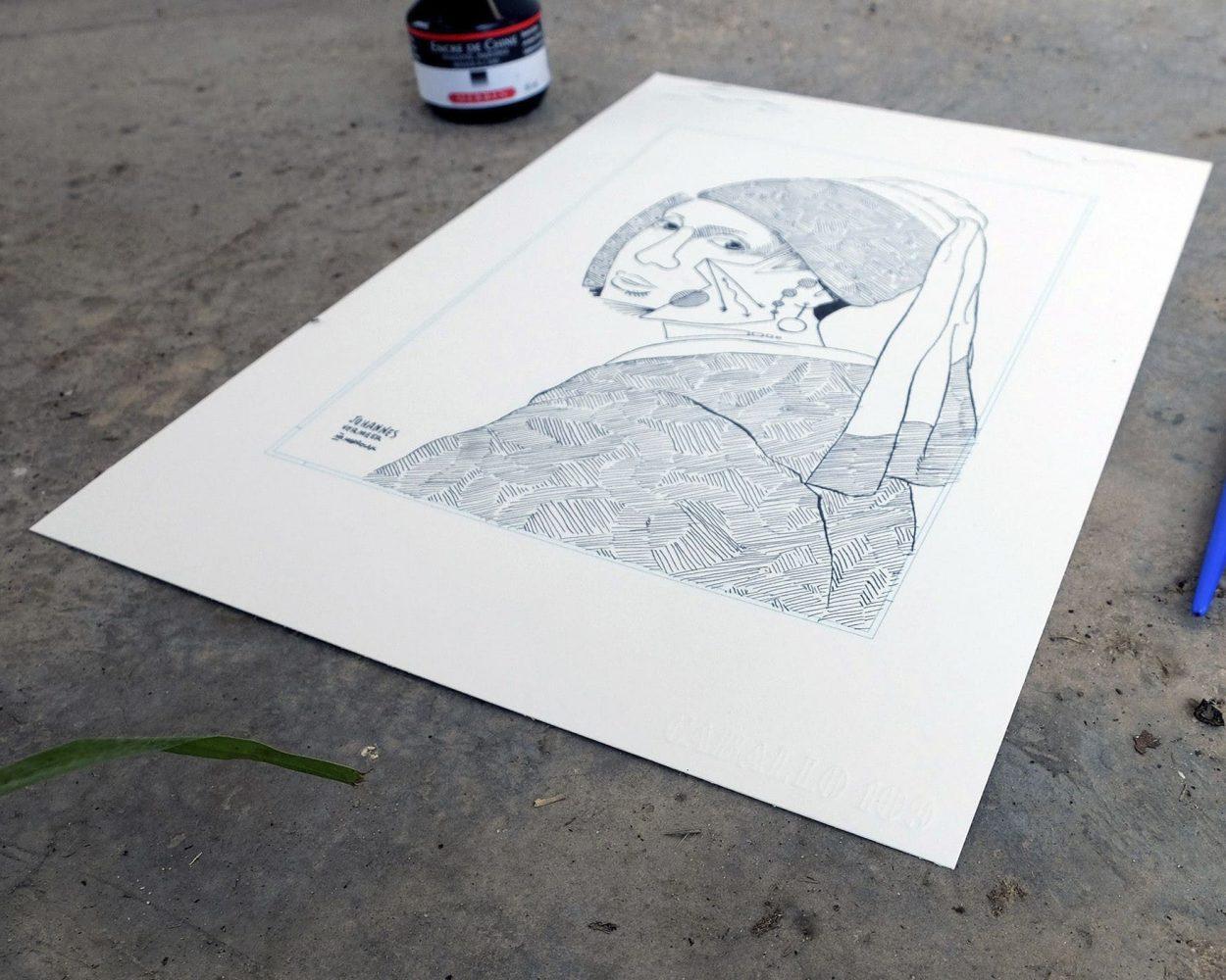 Detalle de una versión de la Joven de la Perla de Johannes Vermeer. Ilustración a tinta sobre papel en blanco y negro