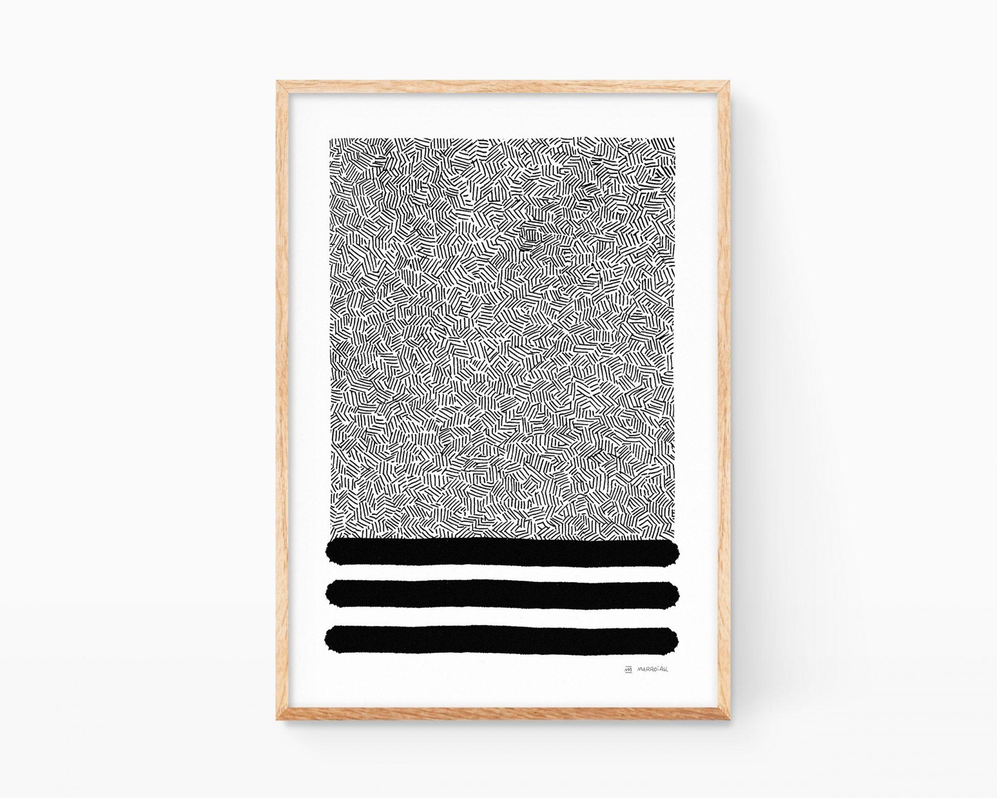 Lámina decorativa con una composión abstracta minimalista. Decoración elegante y nórdica.