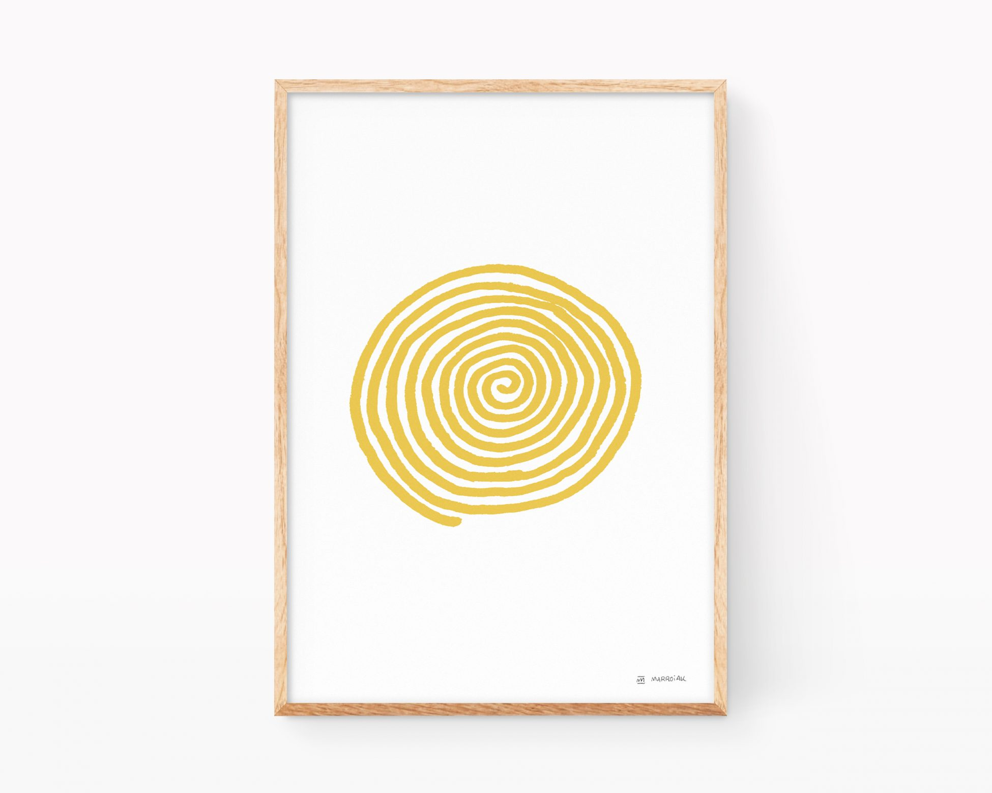 Wood fram with an illustration of a mustard colored spiral on white. Minimalist drawings to decorate.