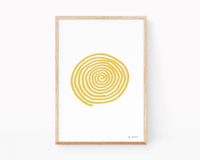 Cuadro para enmarcar con una ilustración de una espiral de color mostaza sobre blanco. Dibujos minimalistas para decorar.
