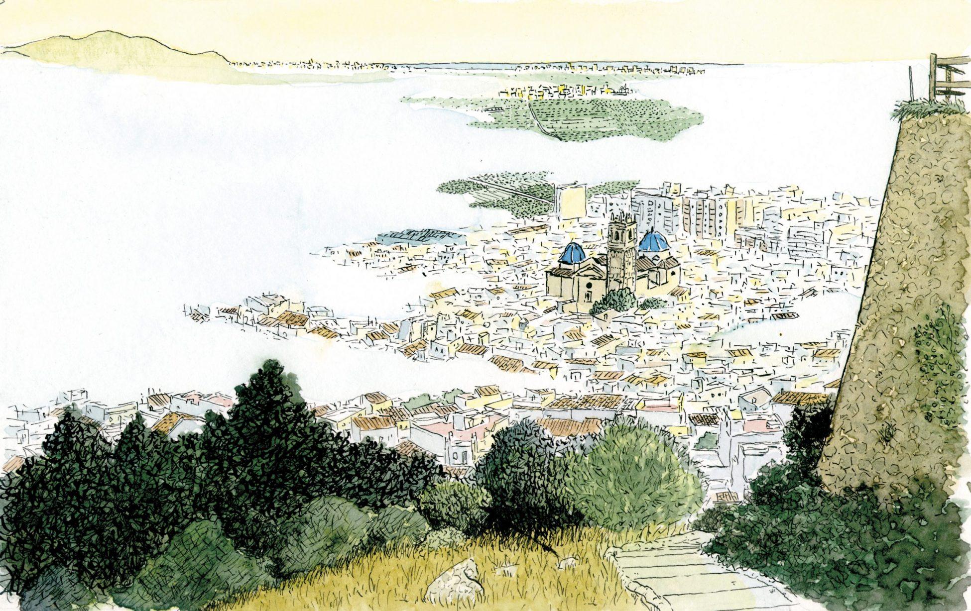 Cuadro para enmarcar con una dibujo en acuarela del municipio de Oliva (Valencia) despertando entre niebla. Ilustraciones originales de la Safor basadas en fotos.
