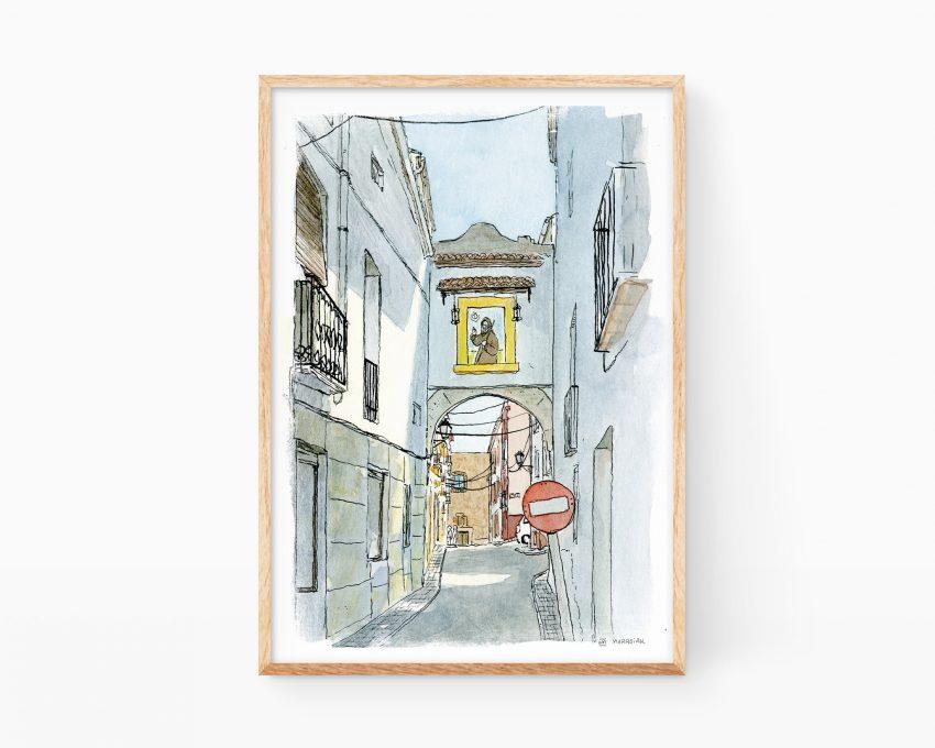 Cuadro para enmarcar con un dibujo en acuarela de una calle típica del municipio de Oliva en La Safor (La terreta) en la provincia de Valencia.