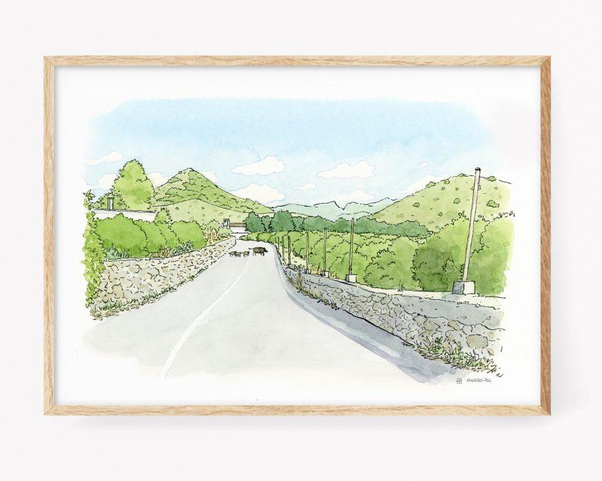 Ilustración de una jabalí y sus jabatos cruzando un camino en la comarca de la Safor, Valencia. Arte de naturaleza