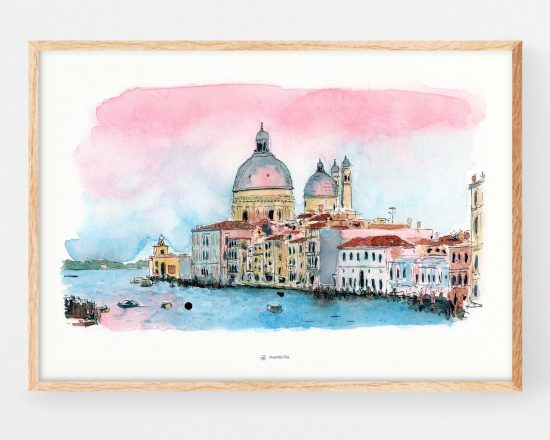 Painting with an illustration of the city of Venice (Italy). Decorative printed sheet made in ink and watercolor. Urban sketchers
