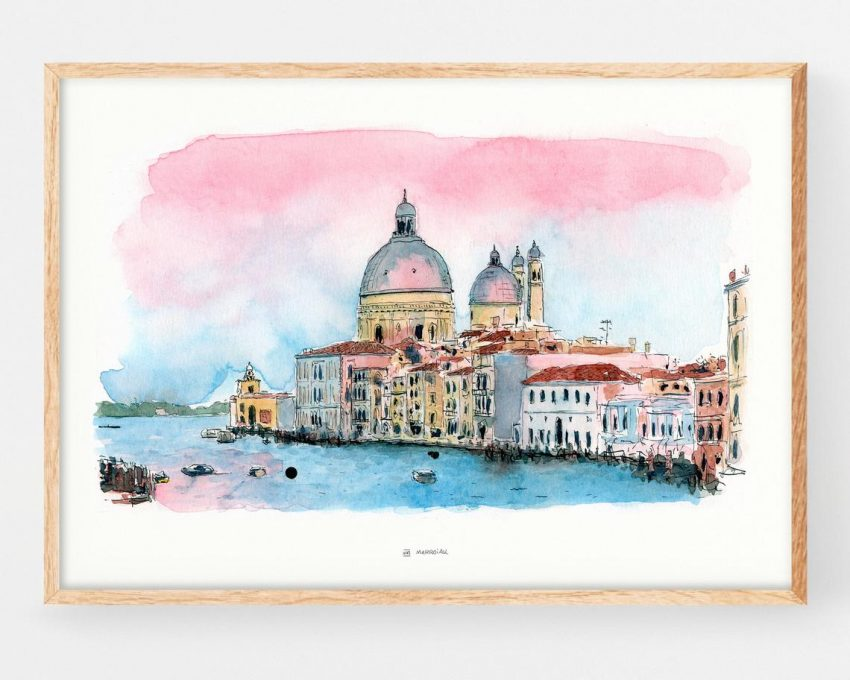 Cuadro decorativo de El Gran Canal con una ilustración de la ciudad de Venecia (Italia). Lámina para enmarcar realizada en tinta y acuarela. Urban sketchers
