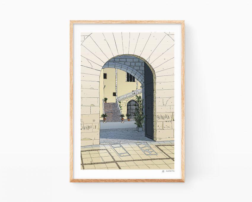 Print de Gandia del Palau Ducal de los Borgia. Entrada al palacete dibujada en tinta y color digital. Souvenirs de Valencia