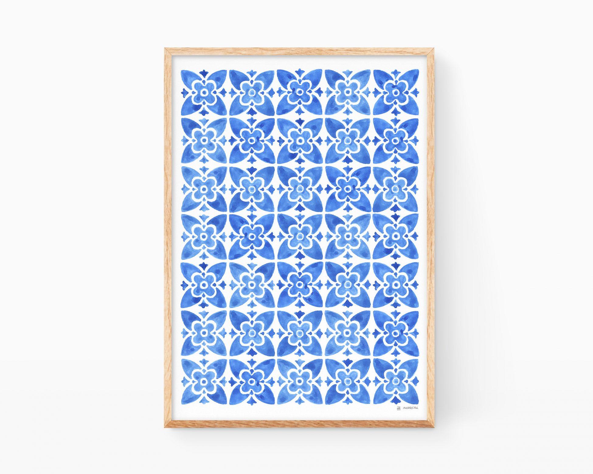 Lámina decorativa para salón y cocina con dibujos abstractos de flores en forma de azulejo mediterráneo, marroquí y valenciano. Ilustraciones de aulejos antiguos valencianos