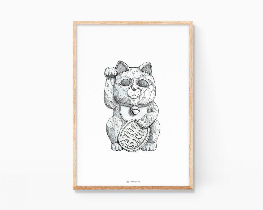 Cuadro decorativo Ilustración de un gato de la suerte Maneki Neko japonés. Impresión de arte. Dibujos de gatos.