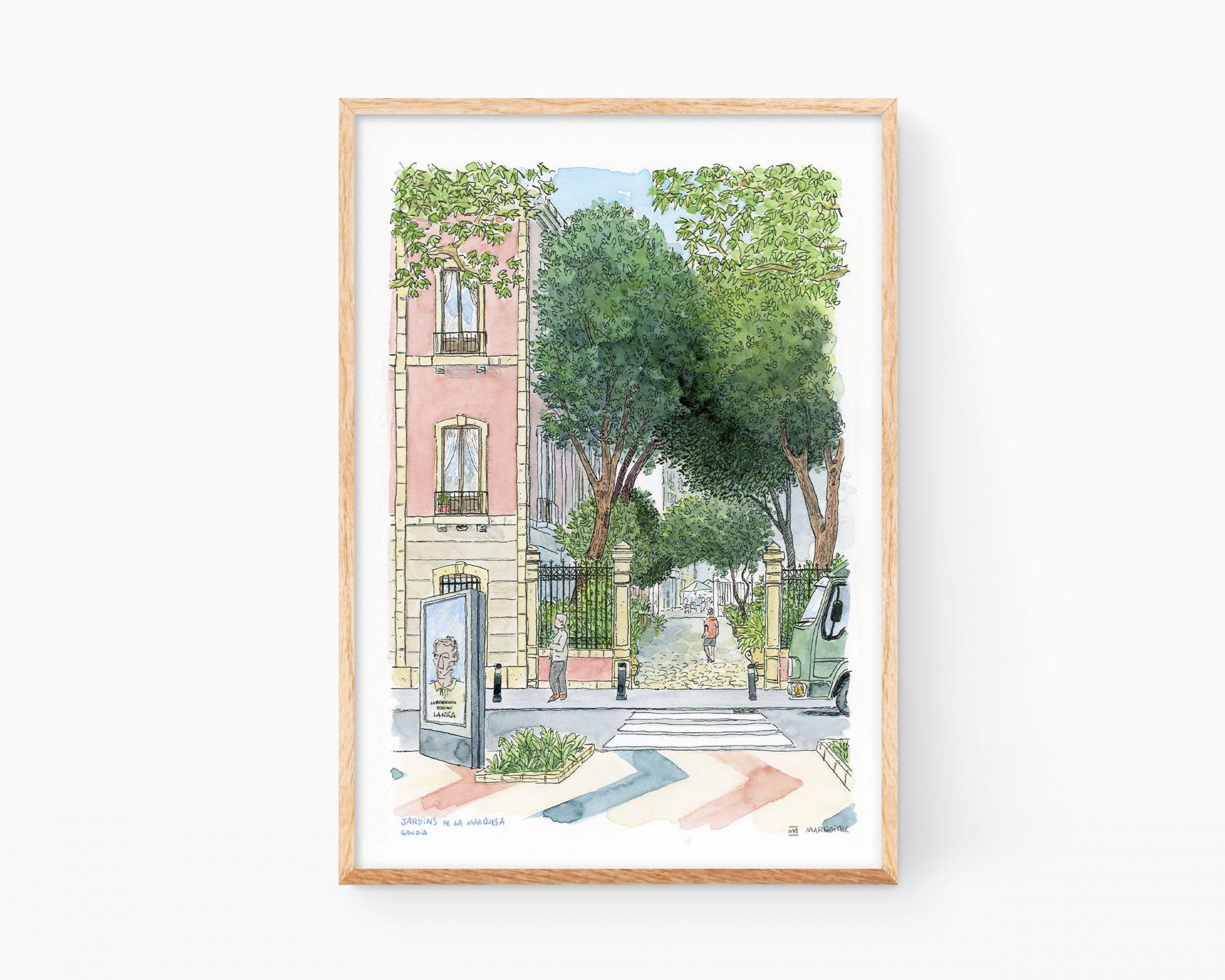 Cuadro para enmarcar decorativo con una ilustración en acuarela y tinta de la Casa de la Marquesa en la ciudad de Gandía (Valencia). Bocetos de la Safor
