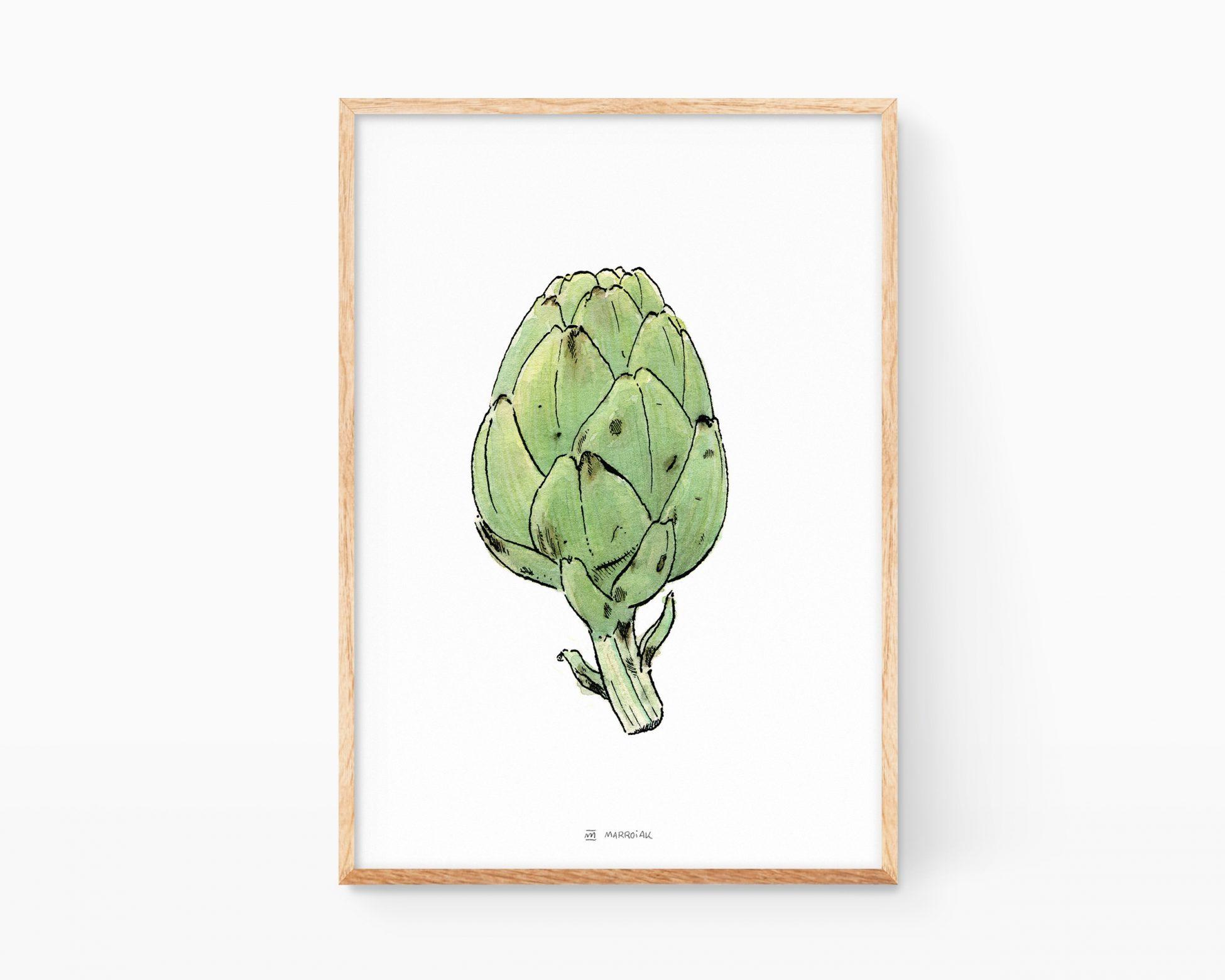 Cuadro decorativo para cocina con un dibujo de una alcachofa. Ilustraciones de frutas y verduras para enmarcar