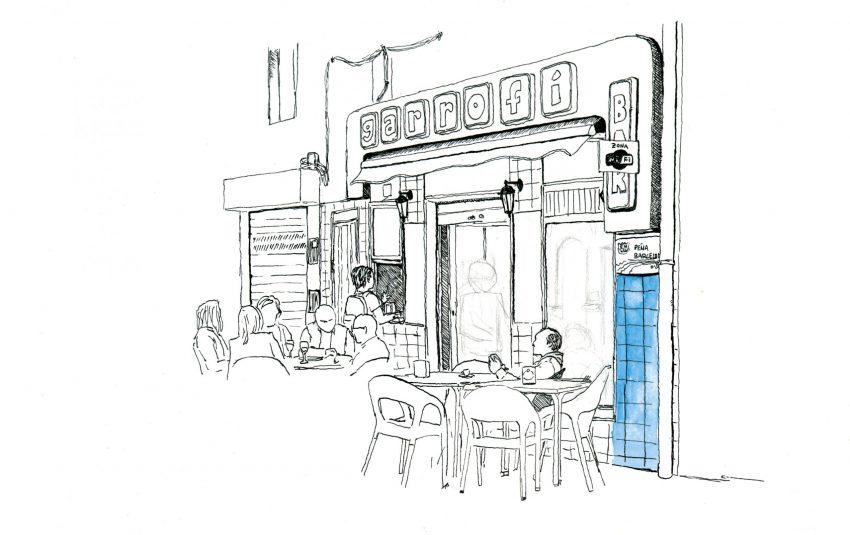 Lámina decorativa bar el garrofí en oliva, La Safor (Valencia). Boceto en tinta sobre papel en blanco y negro