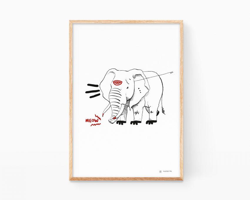 Cuadro con un boceto impreso de un elefante africano en estilo cutre o mamarracho. Arte urbano grafiti