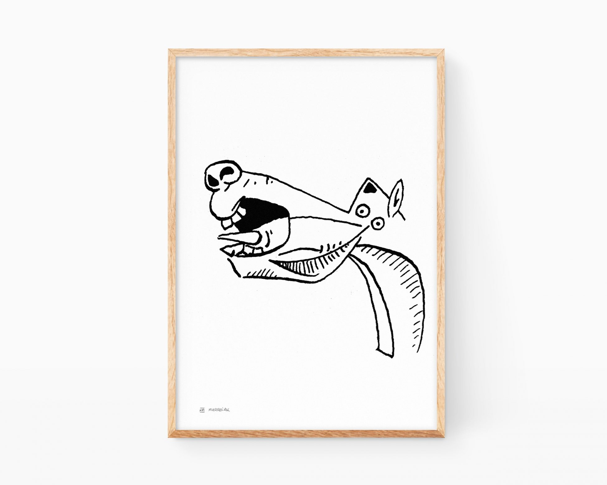 Lámina decorativa en blanco y negro con el caballo dibujado por Pablo Picasso en el Guernica. Decoración de salón y pasillo. Pintura minimalista estilo cómic