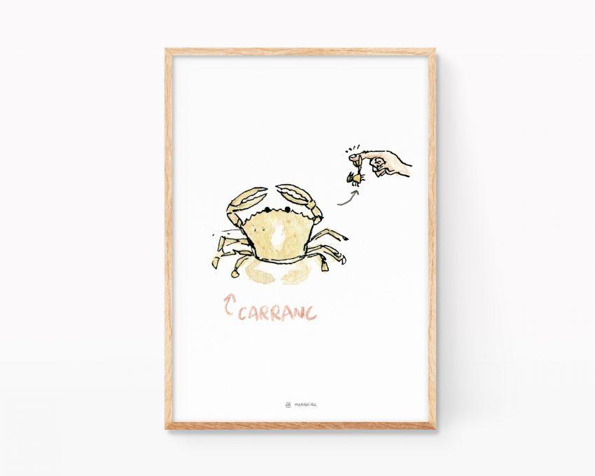 Cuadro decorativo con una acuarela de un cangrejo de playa. Decoración nórdica, escandinava y divertida