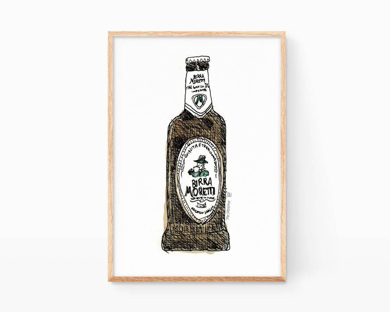 Kitchen Wall decor: Birra Moretti Italy beer drawing poster.
