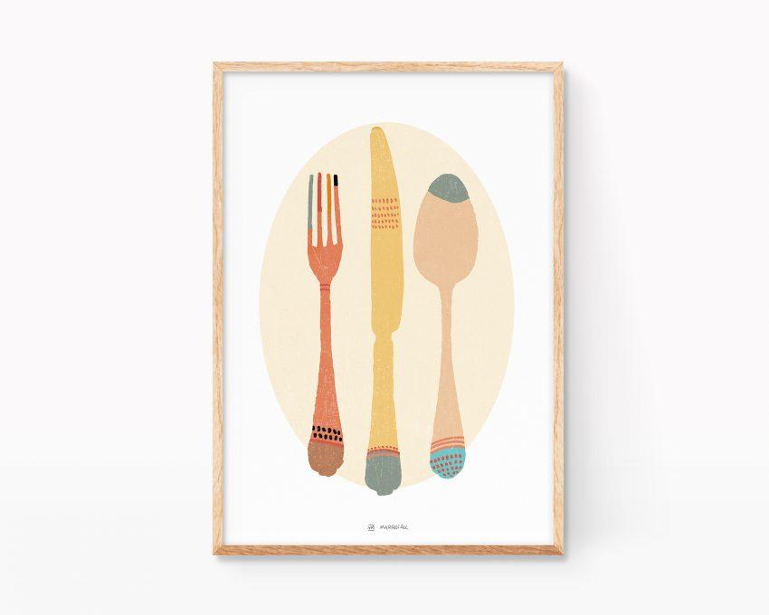 Cuadro para enmarcar decoración de cocinas y restaurantes con un dibujo de cubiertos. Posters de comida para restaurantes.