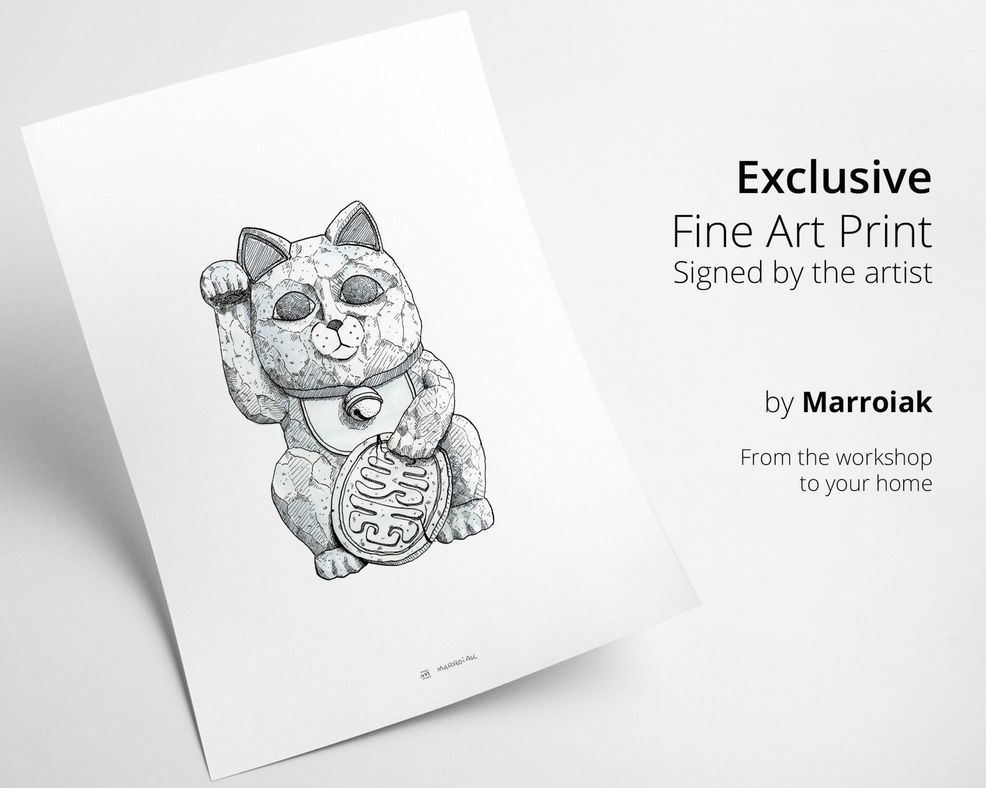 Lámina para enmarcar con un dibujo en blanco y negro de un gato de la suerte japonés en estilo comic y manga. Cuadros para decorar