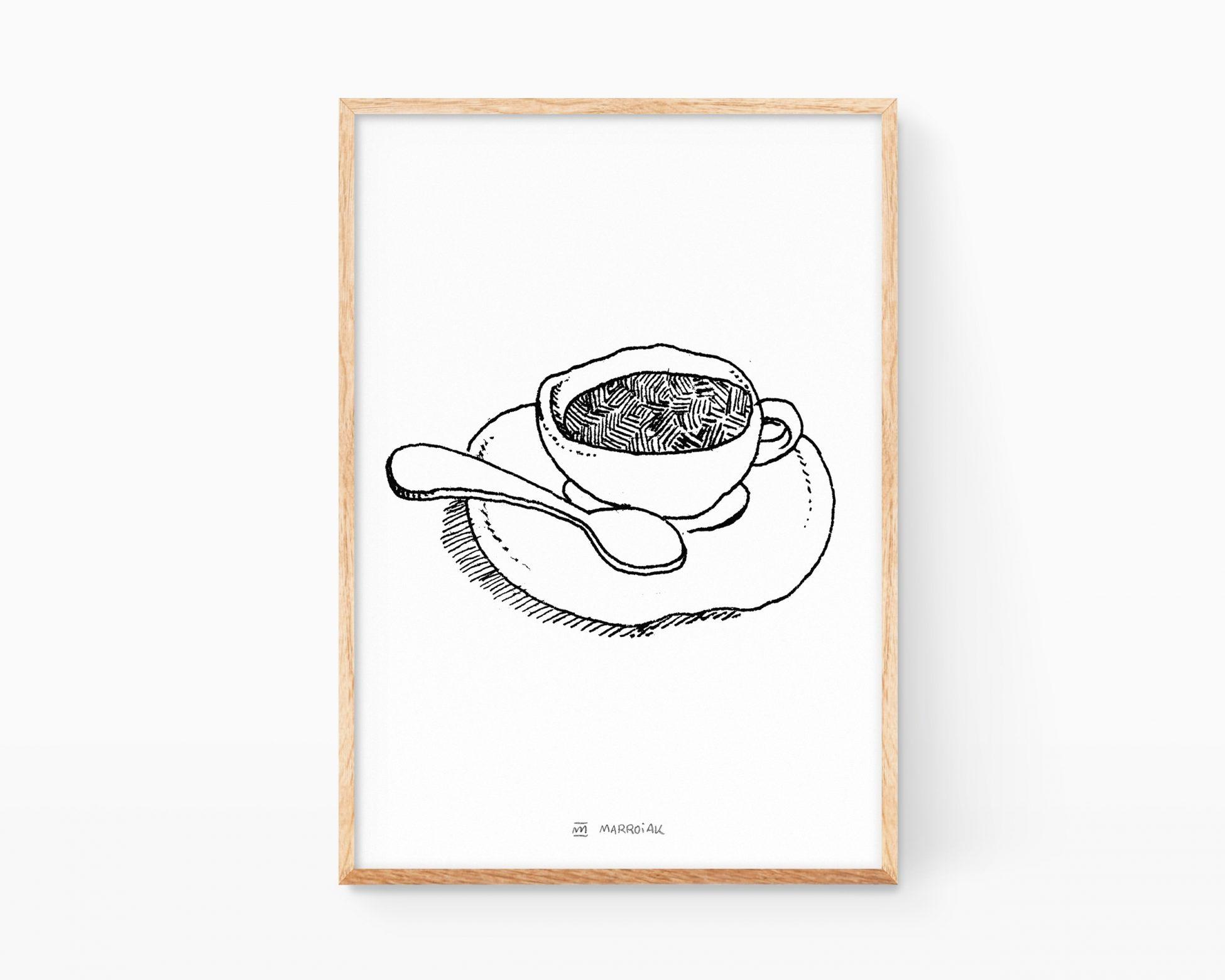 Lámina decorativa con una ilustración de una taza de café italiano expresso. Decoración de cocinas minimalistas y nórdicas. Dibujo Punk Art