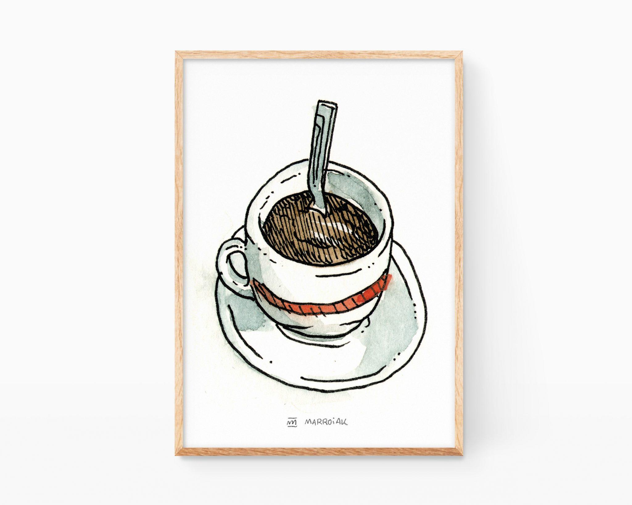 Lámina decorativa para cocinas con una ilustración en acuarela de una taza de café expresso. Venta online de cuadros para enmarcar