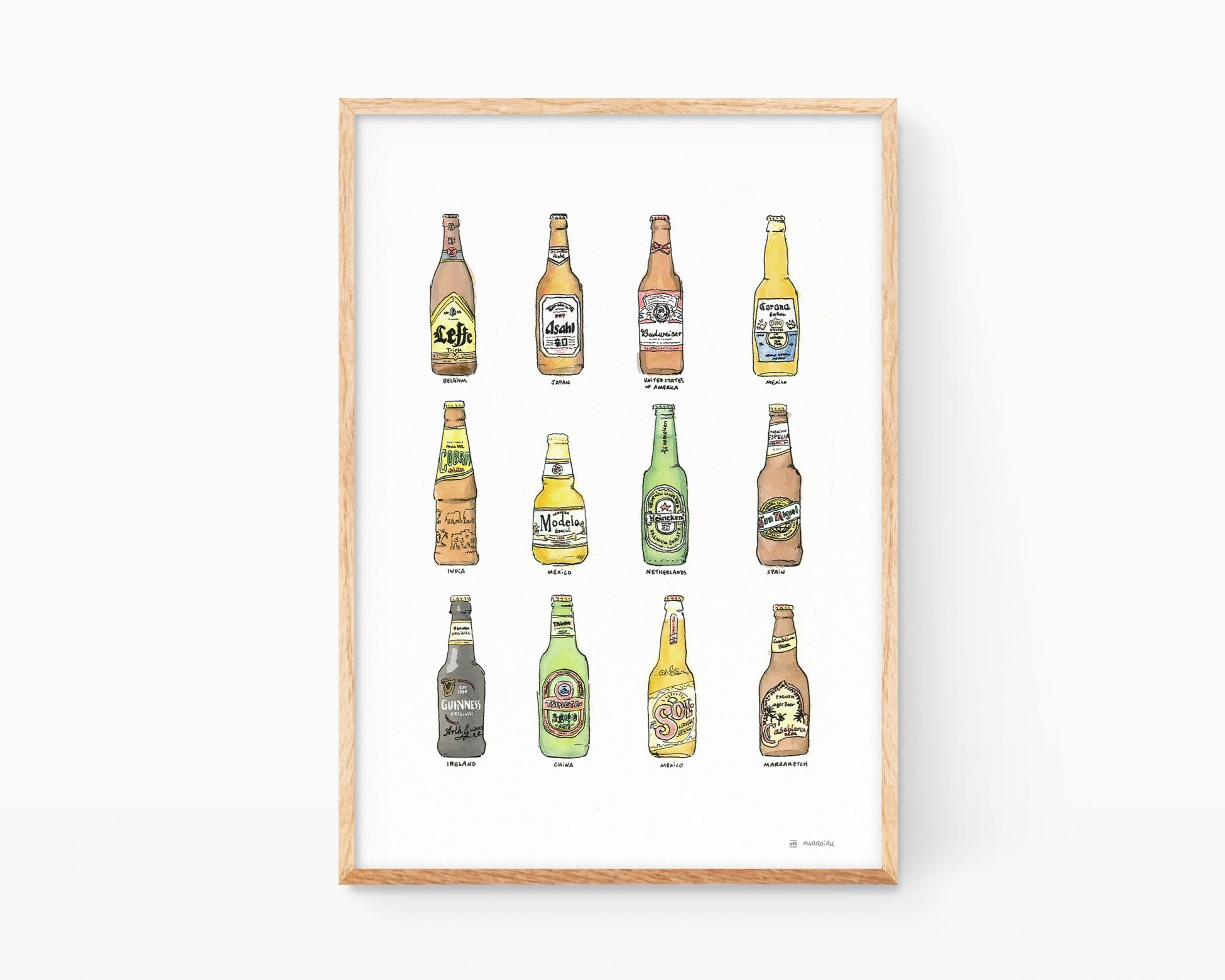 Cuadro decorativo para enmarcar con motivos de cocinas con ilustraciones de botellas de cervezas de países del mundo. Arte contemporáneo barato