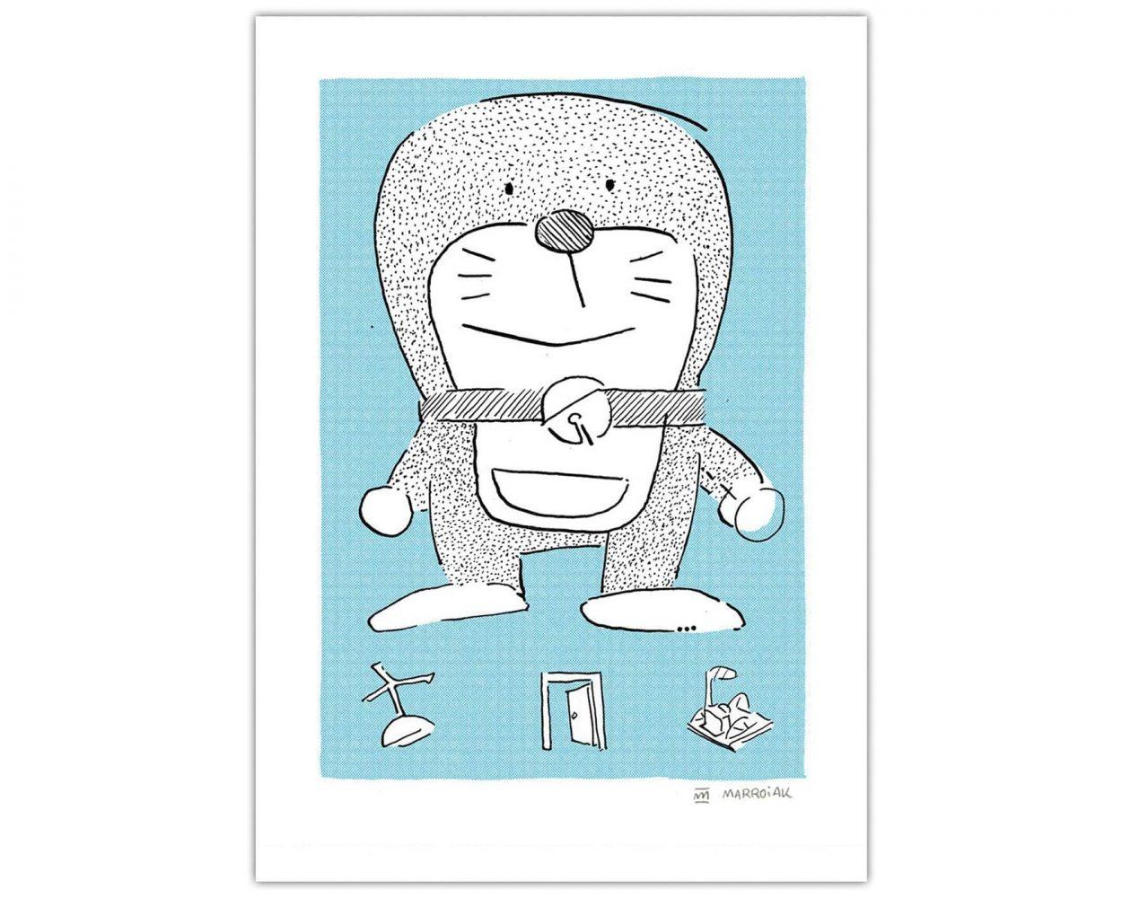 Lámina azul con un dibujo cutre de Doraemon