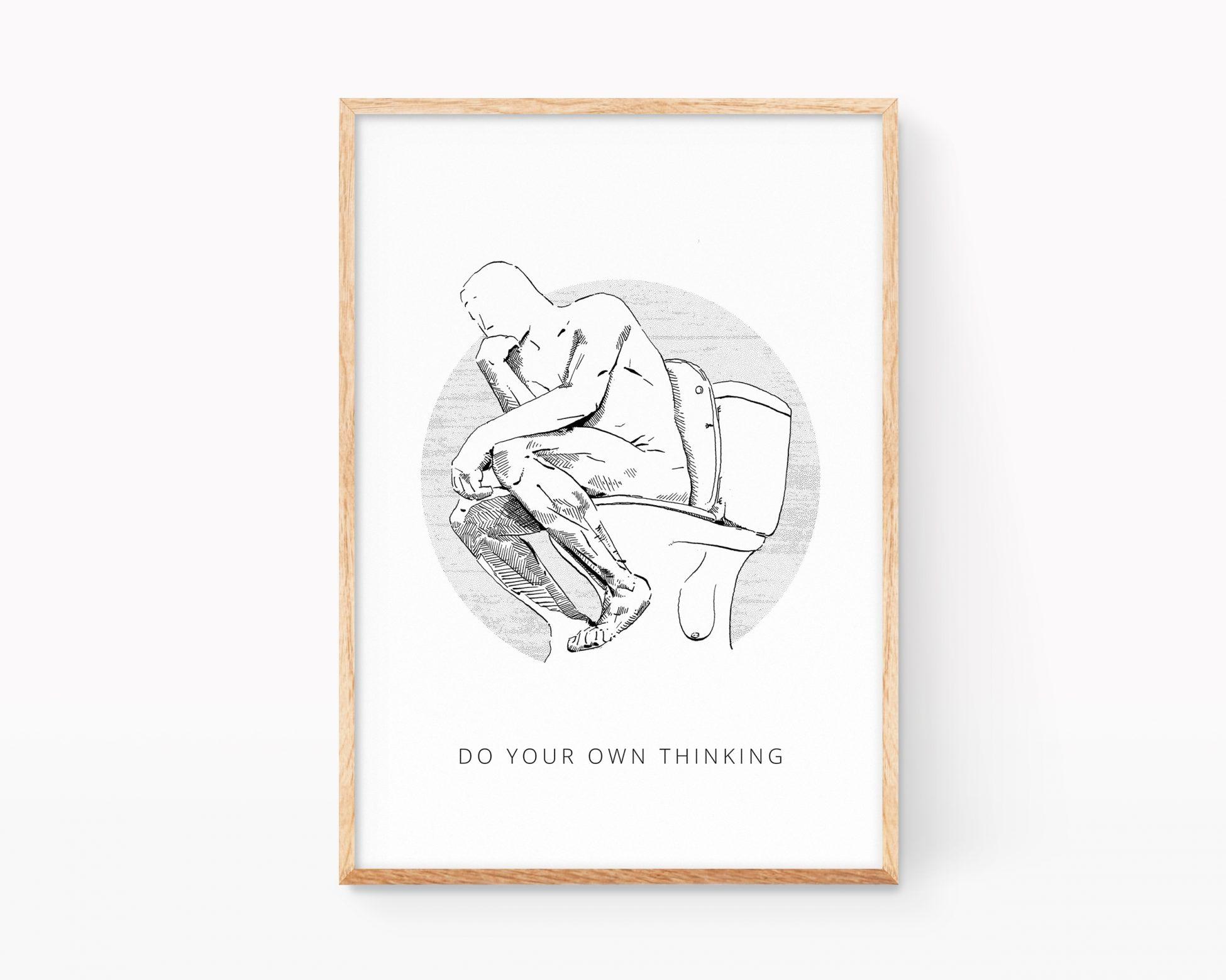 Cuadro para enmarcar con un dibujo en blanco y negro de el pensador de Rodin. Ilustracions divertidas venta online
