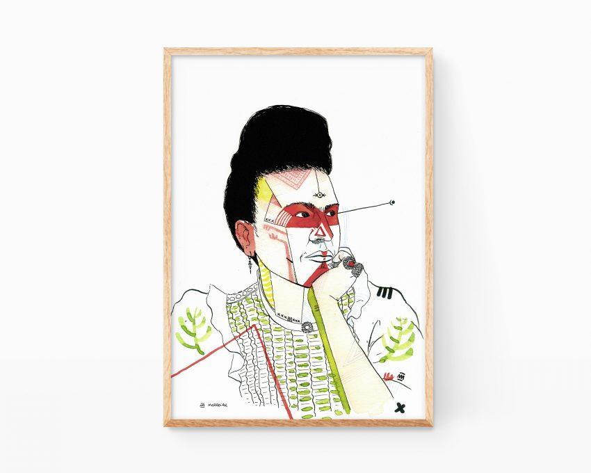 Cuadro decorativo para enmarcar con un dibujo retrato de la artista mujer y feminista Frida Kahlo. Estilo arte urbano.