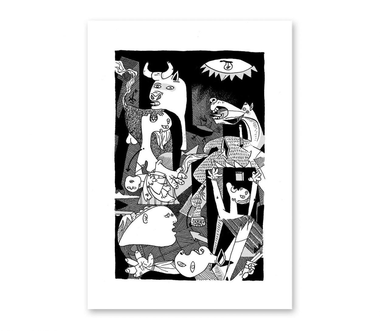 Lámina impresión digital Guernica de Pablo Picasso. Arte cubista, abstracto. Ilustración poster