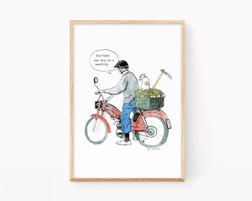 Cuadro decorativo para enmarcar con una imagen tipica de los pueblos de valencia: un anciano (uelo) sobre una moto antigua y con su perro en dirección al huerto. Ilustraciones souvenirs de la Terreta