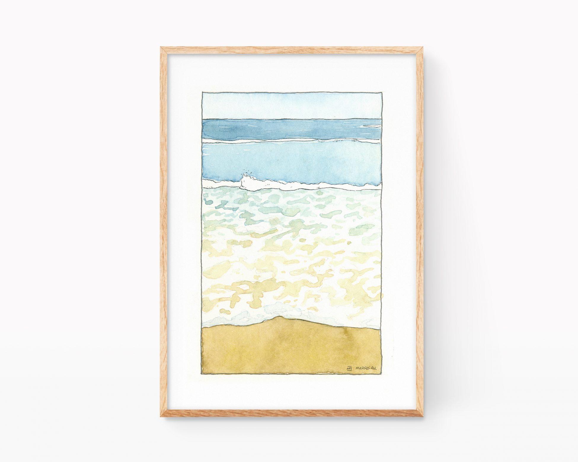 Lámina decorativa con una ilustración de la orilla del mar mediterráneo en estilo cómic.