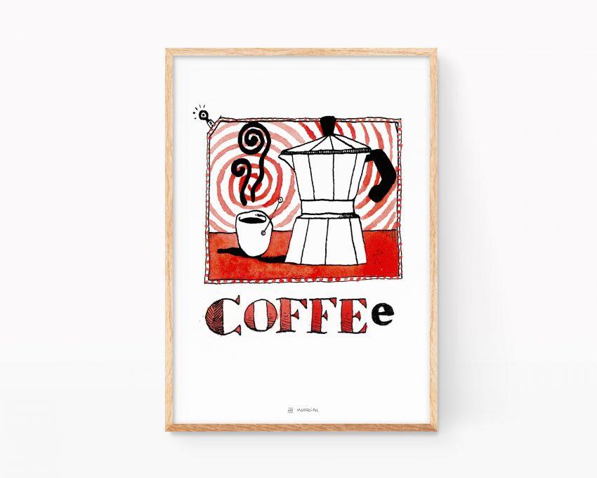 Lámina decorativa para cocinas con una ilustración de una cafetera y una taza de café solo. Color rojo tinta y acuarela sobre papel