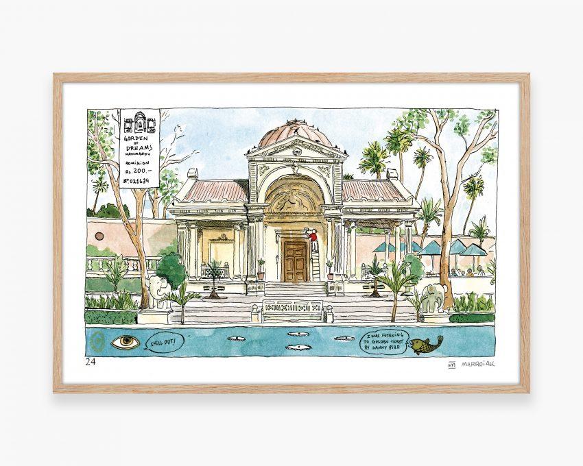 Ilustración en acuarela con una pintura del jardin de los sueños de Kathmandú. Ilustración de viajes estilo urban sketchers. Cuaderno de viaje de Asia.
