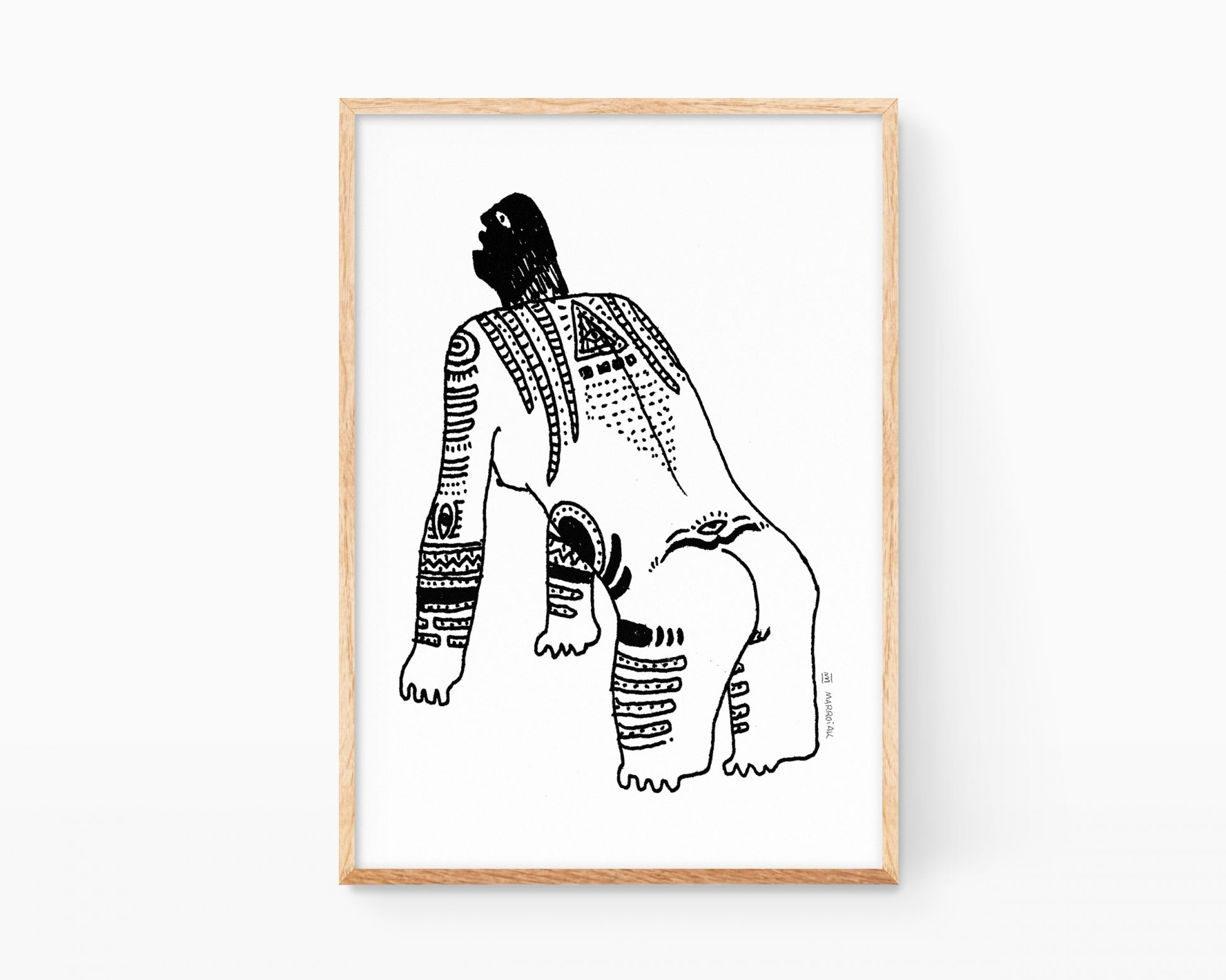Lámina decorativacon una ilustración neo-rupestre con una mujer tatuada.
