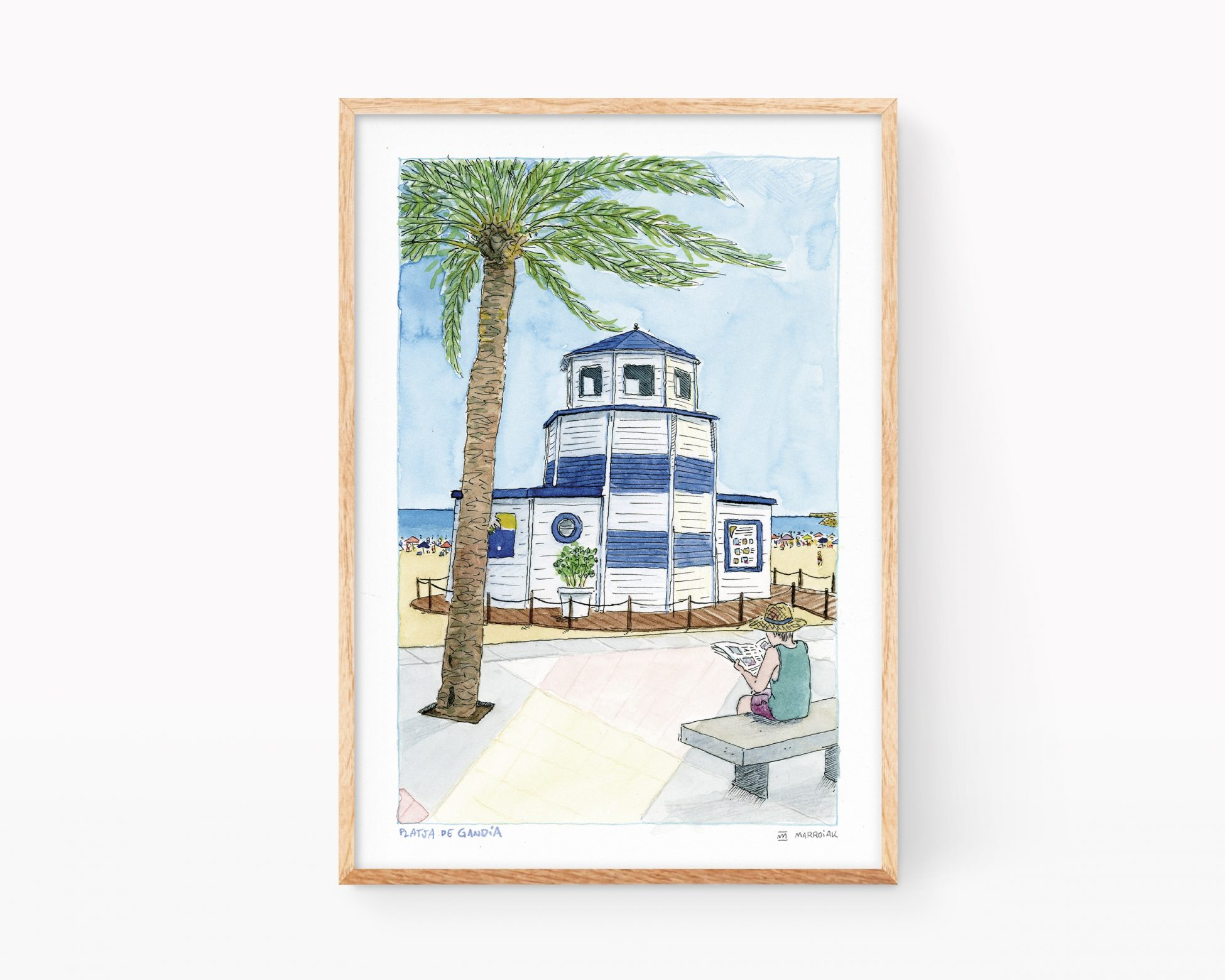 Gandia beach watercolor illustration decorative travel comic style print. Tourist Info Valencia, Spain.
