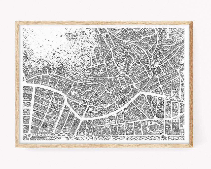 Cuadro para enmarcar con un dibujo de un mapa en blanco y negro del Centro Histórico del pueblo de Oliva. Prints de la Terreta (la Safor)