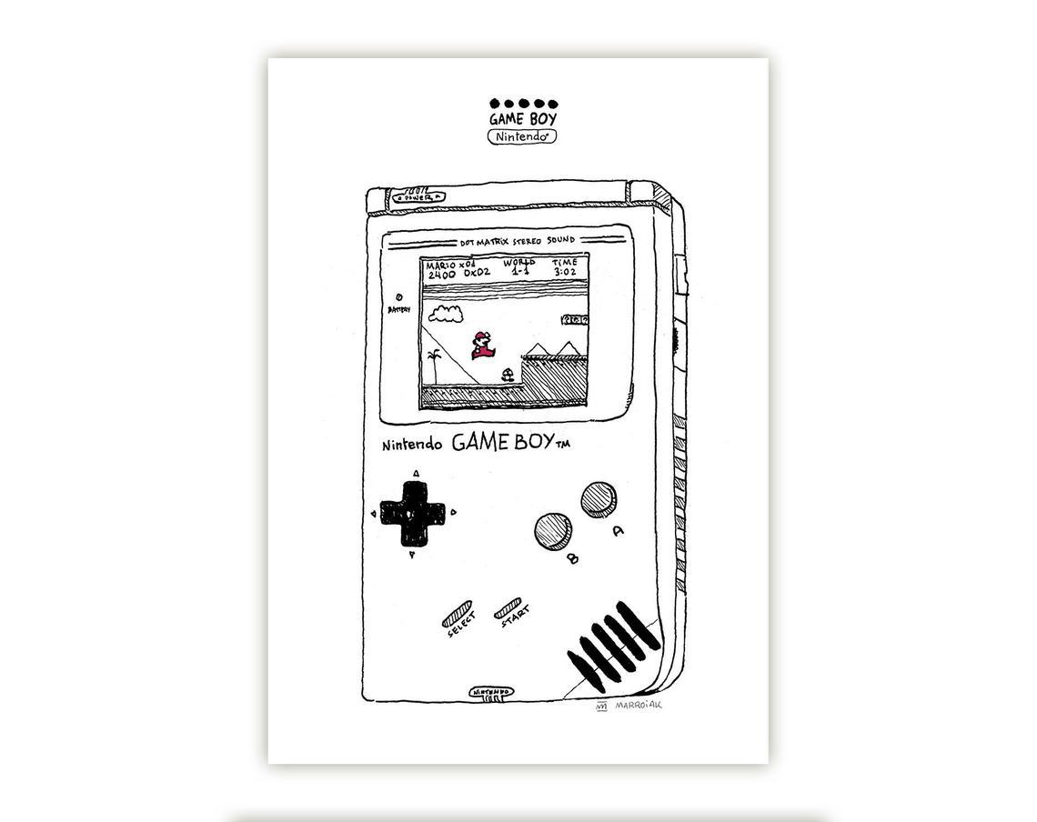 Lámina en blanco y negro con la ilustración de una nintendo game boy con el juego de super mario
