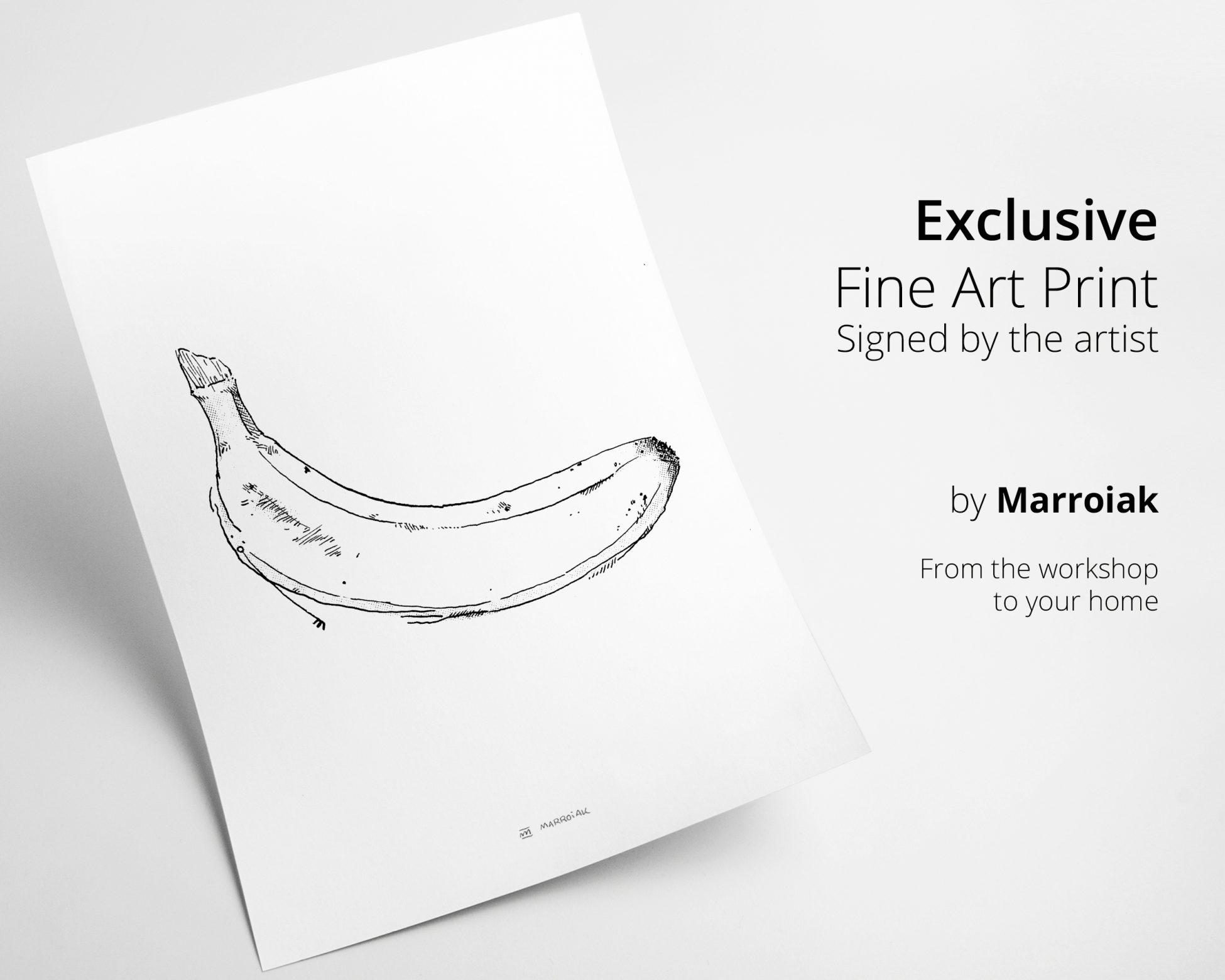 Cuadro decorativo para cocina con una lámina de una ilustración de una banana en blanco y negro. Decoración de frutas, platanos y verduras