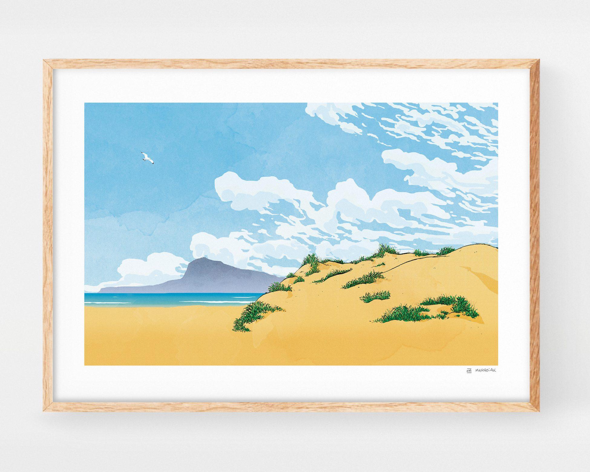 Cuadro para enmarcar con un dibujo de la playa de Oliva y la montaña Montgó de Denia y Jávea. Ilustraciones originales de la safor y Valencia basadas en fotos de paisajes meditarráneos.