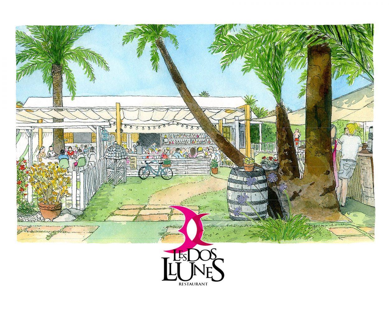 Dibujo en acuarela del restaurante de Oliva Les Dos Llunes. La Safor, Valencia. Bares con encanto