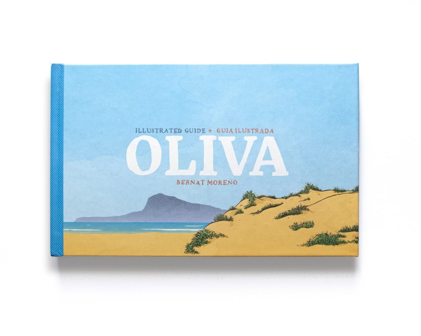 Portada del libro de ilustraciones del pueblo de Oliva en la provincia de valencia. Cuaderno de viaje con acuarelas al estilo urban sketchers sobre el municipio de la playa de Oliva.