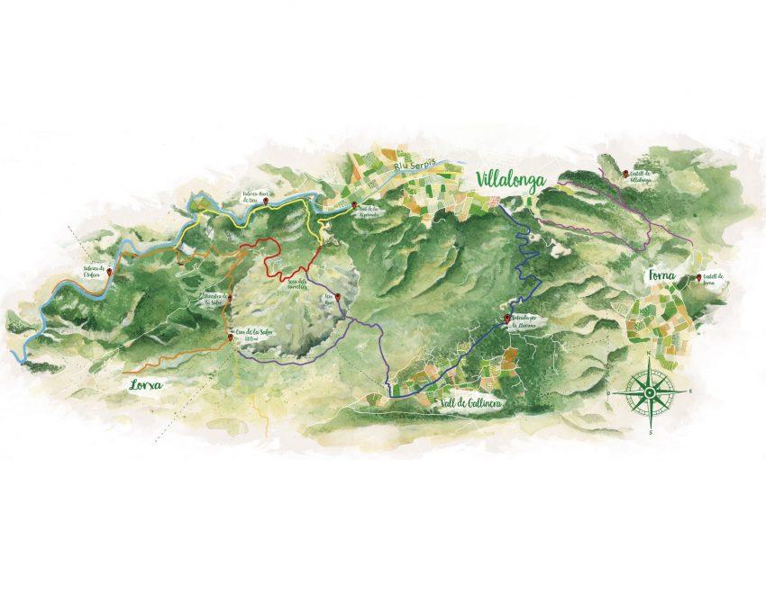Diseño con un mapa dibujado con las distintas rutas de senderismo por el municipio de Villalonga en La Safor (Valencia)