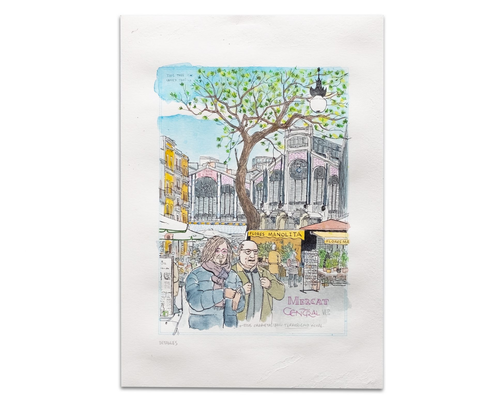Dibujo Mercado central de valencia y flores manolita. Tinta y acuarela. urban sketchers, pintura