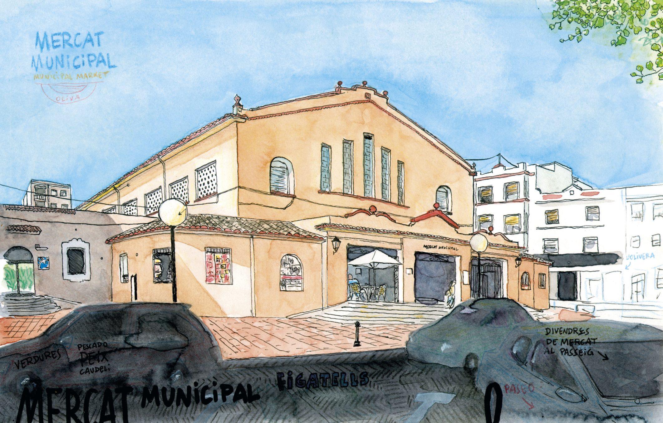 Dibujo del mercado municipal de oliva. Acuarela y tinta sobre papel. Valencia ilustrada. Pueblos españa