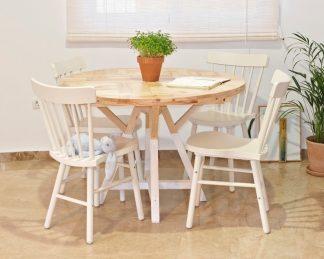 Mesa redonda extensible de madera