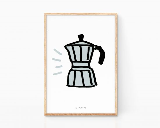 Illustration print of an italian coffee maker. Bialetti drawing - Keith haring style
