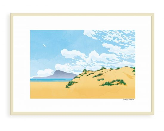 Fine Art print with an illustration of the beach of Oliva town with the Montgó mountain in the background. Illustrations of Valencia, La Safor and Alicante.