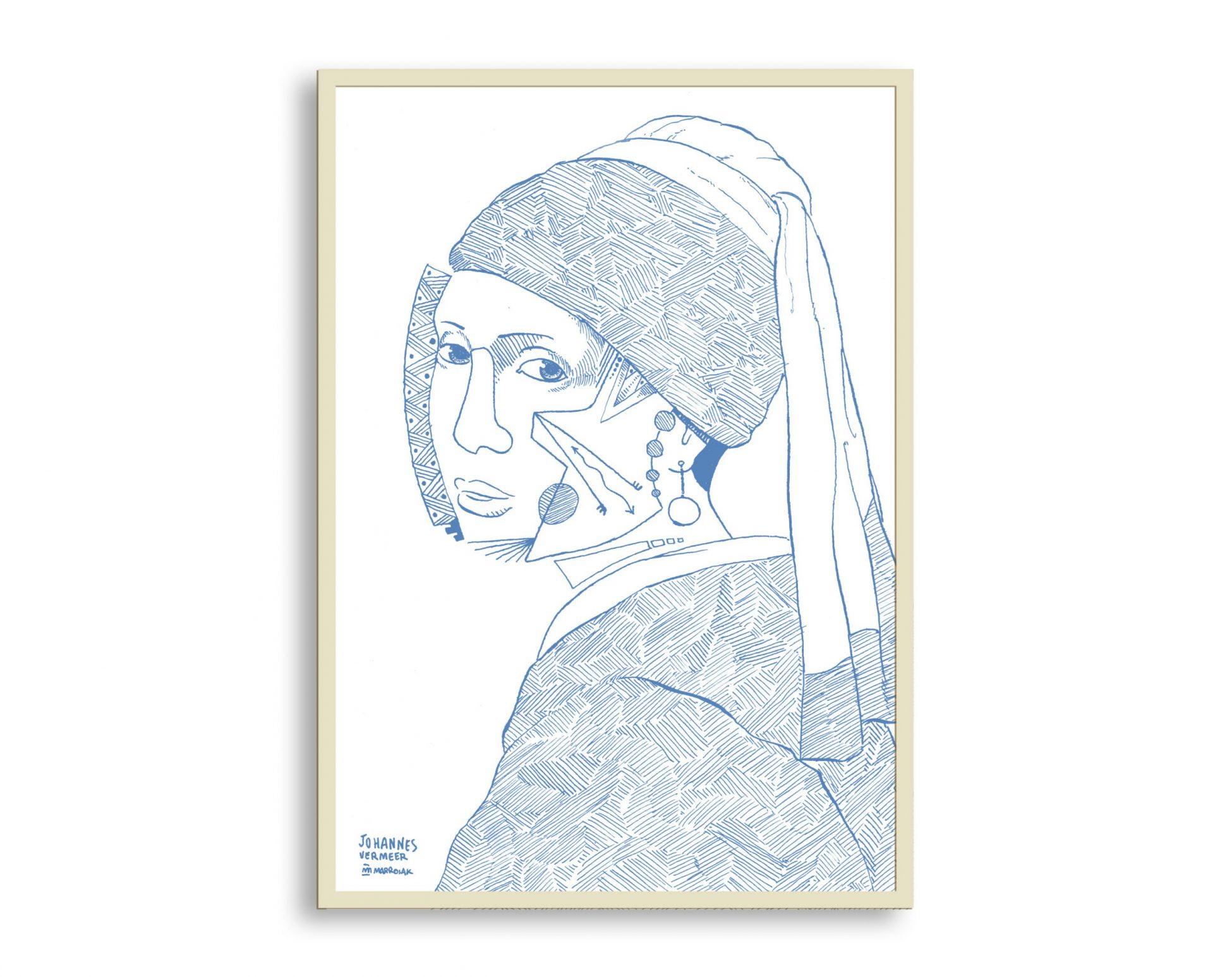 Dibujo enmarcado con una versión de La Joven de la Perla de Johannes Vermeer. Etsy, venta