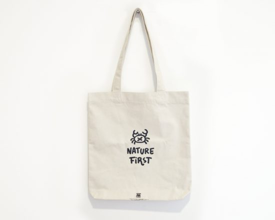 Tote Bag blanco natural nature first - ilustración cangrejo - Comercio Justo Algodón orgánico reciclado
