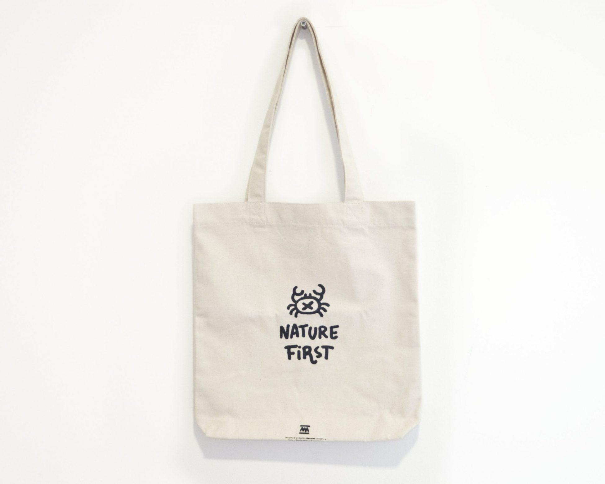 Bolsa de tela Tote Bag blanca natural nature first - ilustración cangrejo - Comercio Justo Algodón orgánico reciclado
